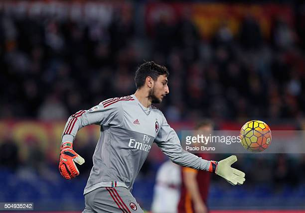 Milan goalkeeper Gianluigi Donnarumma in action during the Serie A match between AS Roma and AC Milan at Stadio Olimpico on January 9 2016 in Rome...