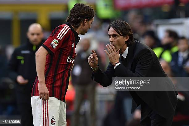 Milan head coach Filippo Inzaghi issues instructions to Riccardo Montolivo during the Serie A match between AC Milan and AC Cesena at Stadio Giuseppe...