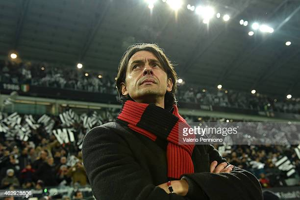 Milan head coach Filippo Inzaghi looks on during the Serie A match between Juventus FC and AC Milan at Juventus Arena on February 7 2015 in Turin...