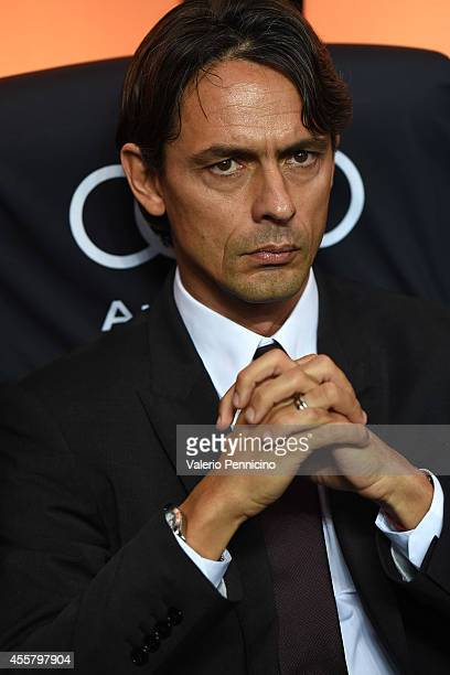 Milan head coach Filippo Inzaghi looks on prior to the Serie A match between AC Milan and Juventus FC at Stadio Giuseppe Meazza on September 20 2014...