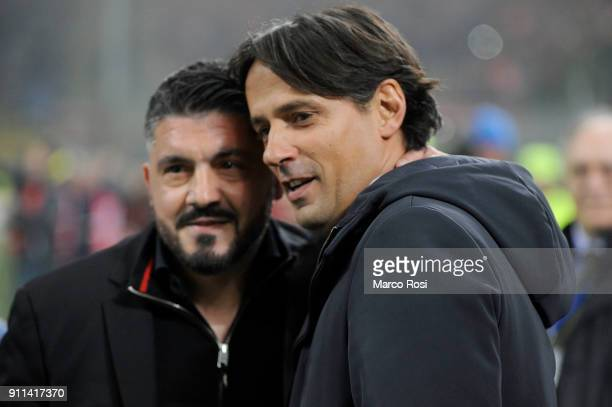 Milan head coach Gennaro Gattuso and SS Lazio head coach Simone Inzaghi before the serie A match between AC Milan and SS Lazio at Stadio Giuseppe...