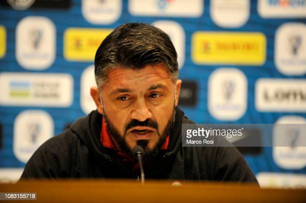 Milan head coach Gennaro Gattuso during the AC Milan press conference Italian Supercup previews on January 15 2019 in Jeddah Saudi Arabia