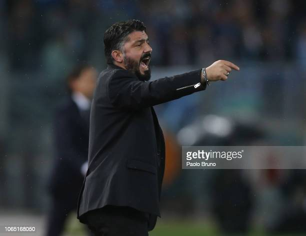 Milan head coach Gennaro Gattuso gestures during the Serie A match between SS Lazio and AC Milan at Stadio Olimpico on November 25 2018 in Rome I taly