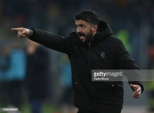 Milan head coach Gennaro Gattuso gestures during the Serie A match between AS Roma and AC Milan at Stadio Olimpico on February 3 2019 in Rome Italy