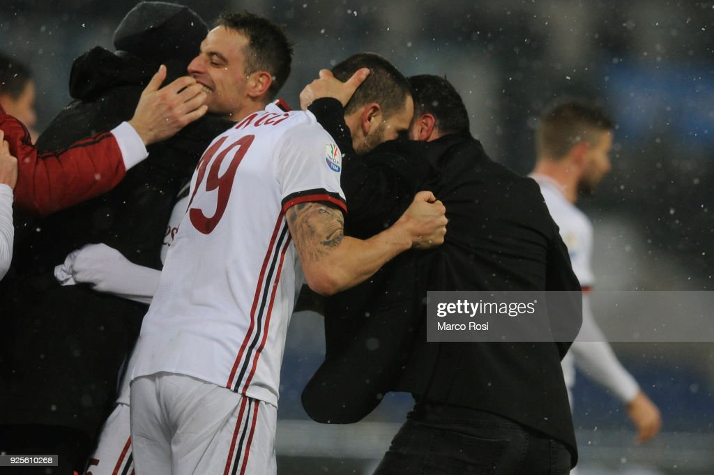 AC Milan head coach Gennaro Gattuso Leonardo Bonucci of AC Milan celebrates a winner game a penalty after the TIM Cup match between SS Lazio and AC Milan at Olimpico Stadium on February 28, 2018 in Rome, Italy.