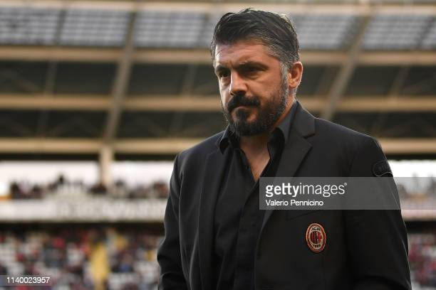 Milan head coach Gennaro Gattuso looks on during the Serie A match between Torino FC and AC Milan at Stadio Olimpico di Torino on April 28, 2019 in...