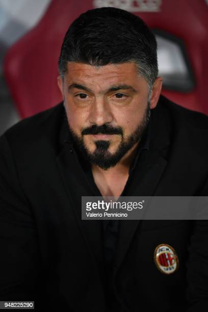 Milan head coach Gennaro Gattuso looks on during the Serie A match between Torino FC and AC Milan at Stadio Olimpico di Torino on April 18 2018 in...