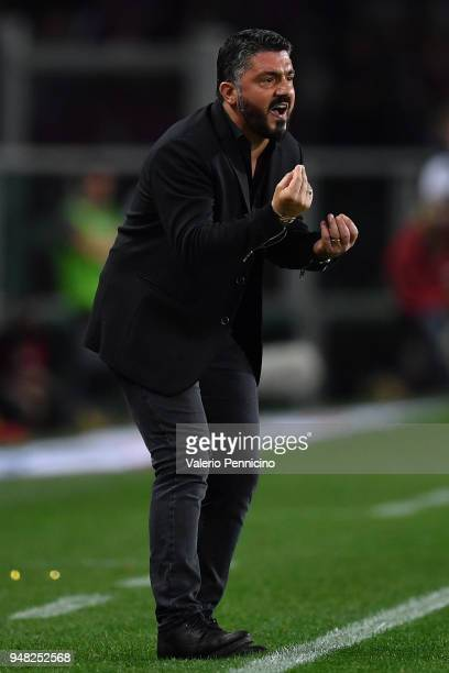 Milan head coach Gennaro Gattuso reacts during the Serie A match between Torino FC and AC Milan at Stadio Olimpico di Torino on April 18 2018 in...