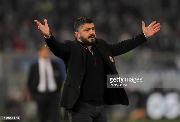 Milan head coach Gennaro Gattuso reacts during the TIM Cup match between SS Lazio and AC Milan at Olimpico Stadium on February 28 2018 in Rome Italy