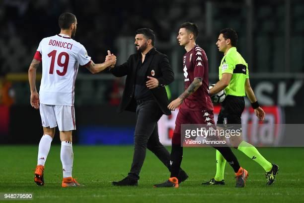 Milan head coach Gennaro Gattuso salutes Leonardo Bonucci at the end of the Serie A match between Torino FC and AC Milan at Stadio Olimpico di Torino...