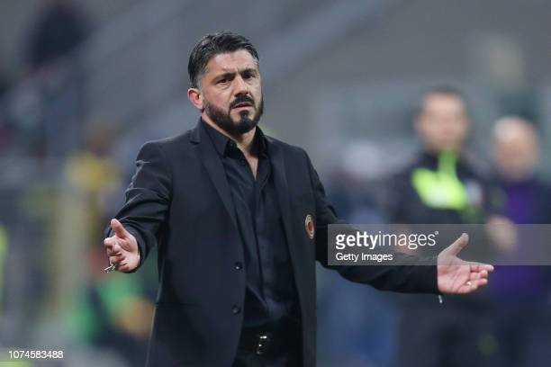 Milan head coach Gennaro Gattuso shows his dejection during the Serie A match between AC Milan and ACF Fiorentina at Stadio Giuseppe Meazza on...