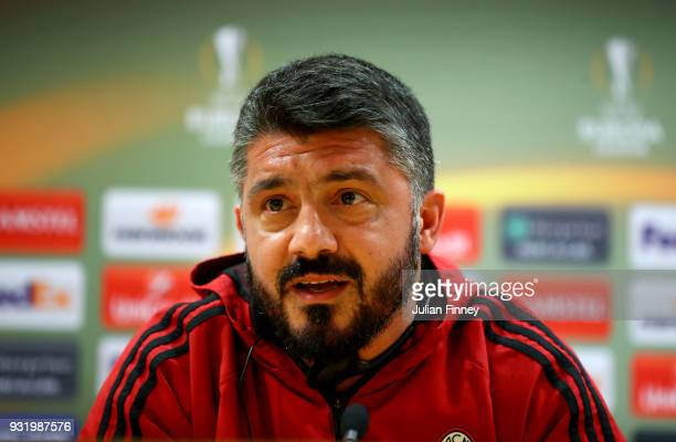 Milan head coach Gennaro Gattuso speaks to the media during the AC Milan Press Conference at Emirates Stadium on March 14 2018 in London England