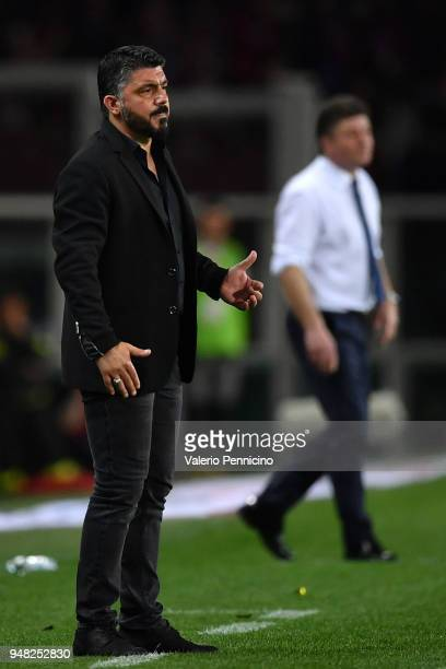 Milan head coach Gennaro Gattuso watches the action during the Serie A match between Torino FC and AC Milan at Stadio Olimpico di Torino on April 18...