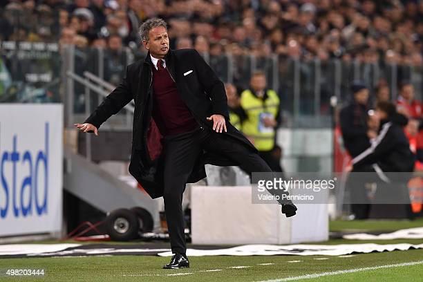 Milan head coach Sinisa Mihajlovic gestures during the Serie A match between Juventus FC and AC Milan at Juventus Arena on November 21 2015 in Turin...