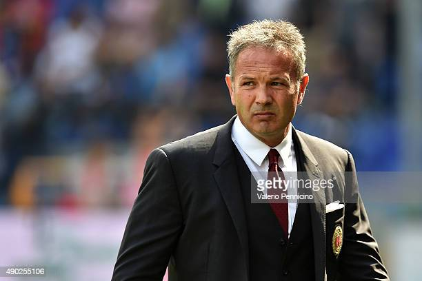 Milan head coach Sinisa Mihajlovic looks on during the Serie A match between Genoa CFC and AC Milan at Stadio Luigi Ferraris on September 27 2015 in...