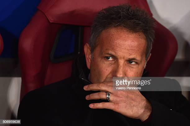 Milan head coach Sinisa Mihajlovic looks on during the TIM Cup match between US Alessandria and AC Milan at Olimpico Stadium on January 26 2016 in...