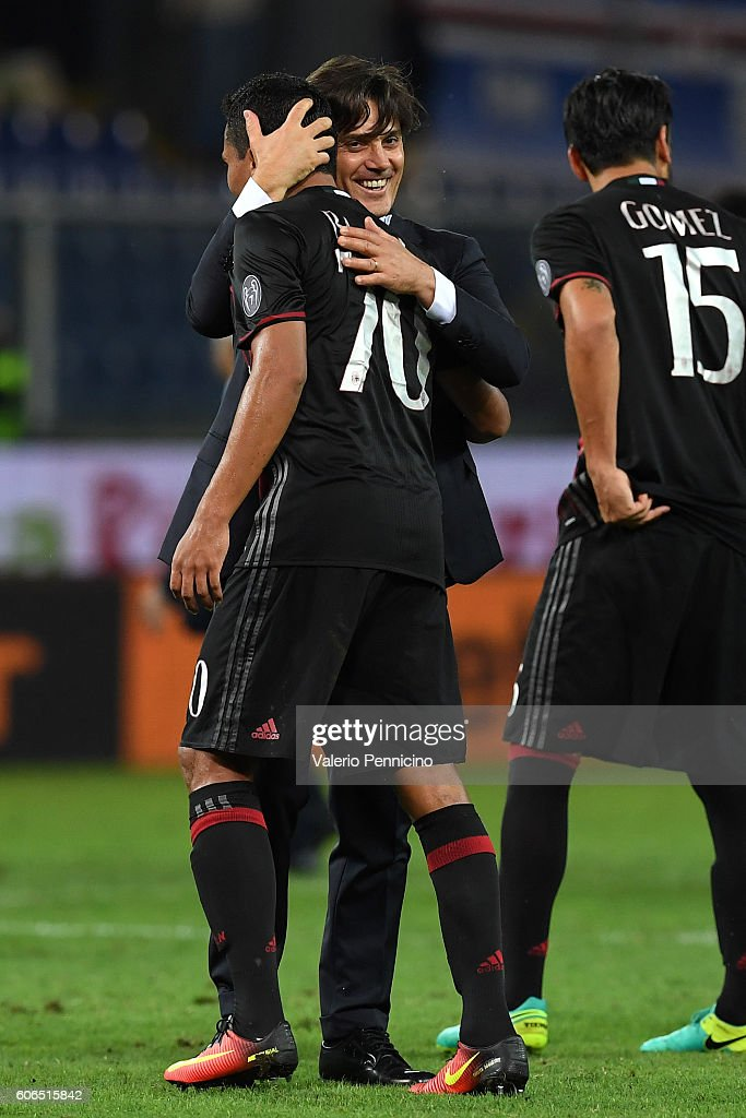 AC Milan head coach Vincenzo Montella (R) celebrates victory with Carlos Bacca at the end of the Serie A match between UC Sampdoria and AC Milan at Stadio Luigi Ferraris on September 16, 2016 in Genoa, Italy.