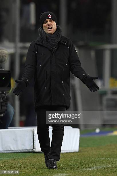 Milan head coach Vincenzo Montella reacts during the Serie A match between FC Torino and AC Milan at Stadio Olimpico di Torino on January 16 2017 in...