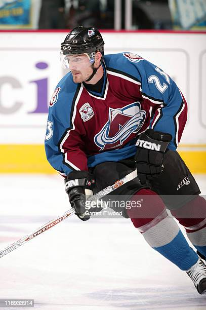 Milan Hejduk of the Colorado Avalanche prior to the game against the Edmonton Oilers on October 25, 2005 at Pepsi Center in Denver, Colorado.