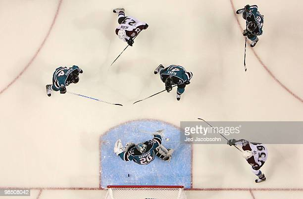 Milan Hejduk of the Colorado Avalanche scores past Evgeni Nabokov of the San Jose Sharks in Game Two of the Western Conference Quarterfinals during...