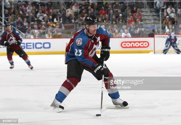 Milan Hejduk of the Colorado Avalanche skates against the Toronto Maple Leafs at the Pepsi Center on January 29, 2009 in Denver, Colorado. The Maple...