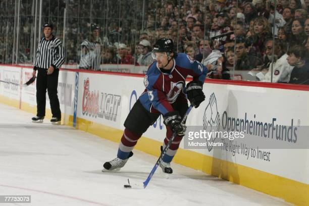 Milan Hejduk of the Colorado Avalanche skates with the puck against the Vancouver Canucks at the Pepsi Center on November 3, 2007 in Denver,...