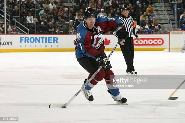 Milan Hejduk of the Colorado Avalanche skates with the puck against the Chicago Blackhawks at the Pepsi Center on January 18, 2008 in Denver,...