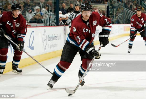 Milan Hejduk of the Colorado Avalanche takes the puck down the ice against the Vancouver Canucks in the first period on October 29 2005 at the Pepsi...
