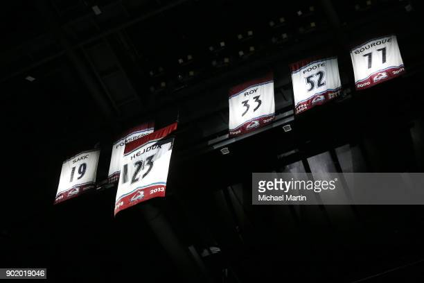 Milan Hejduk's jersey heads to the rafters prior to the game between the Colorado Avalanche and the Minnesota Wild at the Pepsi Center on January 6...