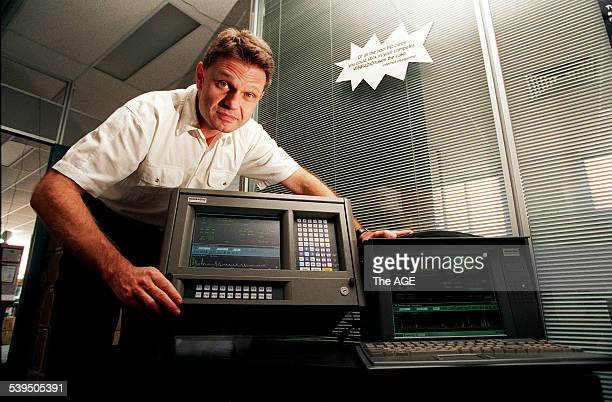 Milan Hudecek MD of Rosetta Laboratories with his 19 inch devices and the professional military luggable Rosetta is the developer of the WinRadio...