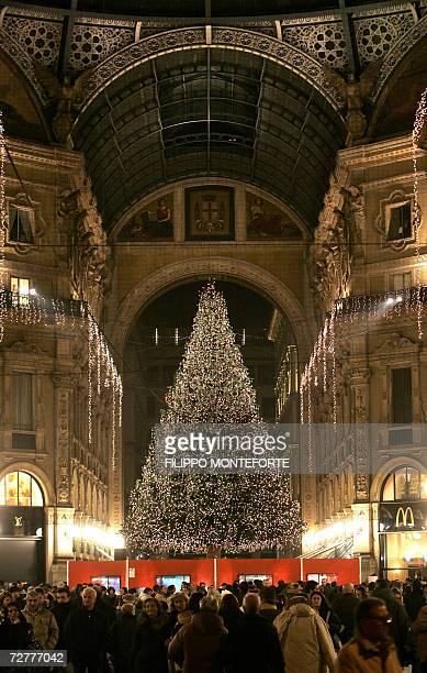 Giant Christmas tree stands inside Galleria Umberto I shopping mall in central Milan 08 December, 2006. The Italian fashion capital prepares for the...
