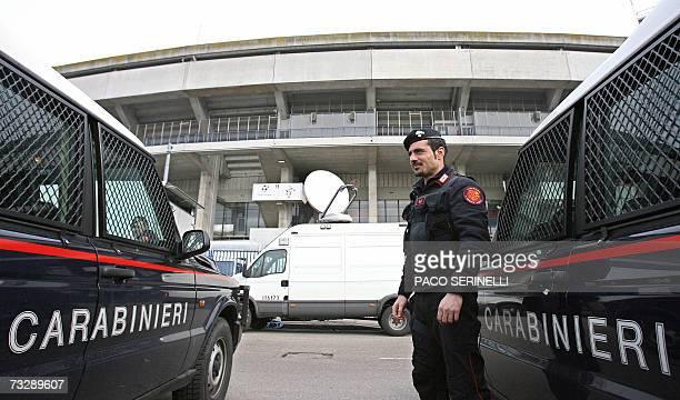 A Italian Carabiniere stands outside Bentegodi stadium before the Serie A football match Chievo Verona vs Inter Milan in Verona 11 February 2007...