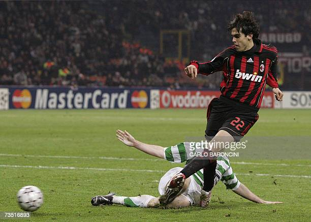 AC Milan forward Kaka of Brazil scores against Celtic during the first period of extra time of their Champions League last 16 second leg football...