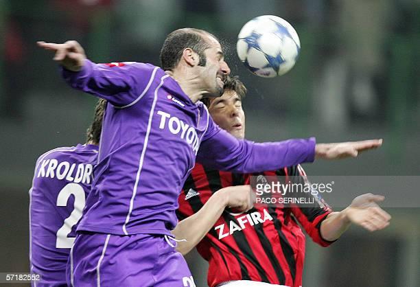 AC Milan midfielder Kaka vies with Fiorentina defender Giuseppe Pancaro during their Serie A football match AC MilanFiorentina at San Siro in Milan...