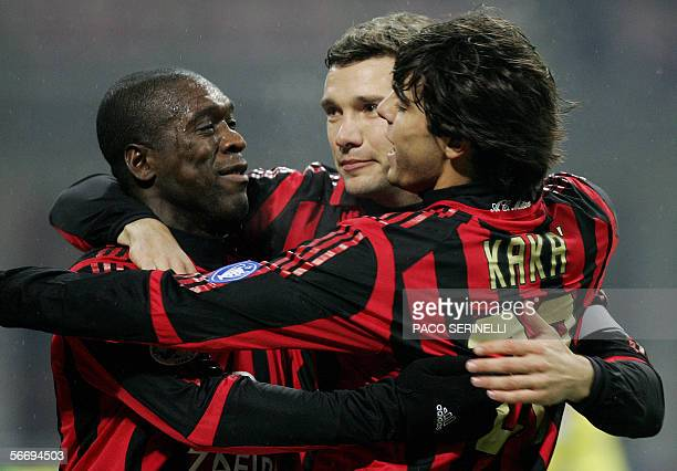 AC Milan's forward Andriy Shevchenko is congratulated by his teammates Clarence Seedorf and Kaka after scoring a goal against Sampdoria during their...