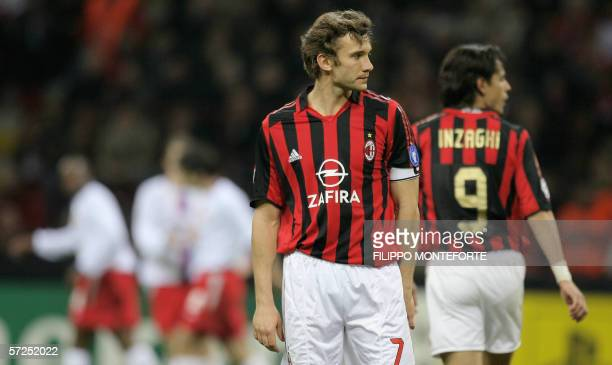 AC Milan's forward Andriy Shevchenko of Ukraine and AC Milan's forward Filippo Inzaghi react during quarter final second leg Champions league...