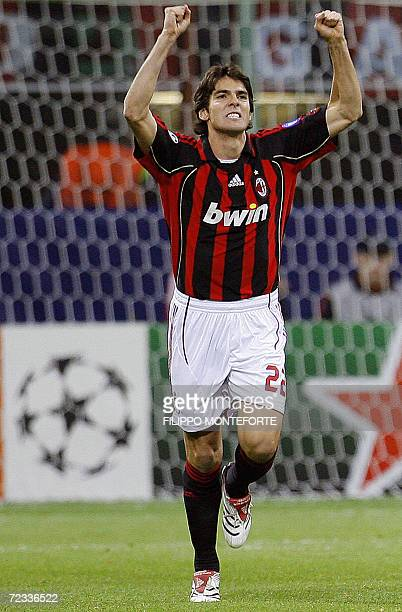 Milan's forward Kaka of Brazil celebrates after scoring a penalty against Anderlecht during their group H Champions league football match against at...
