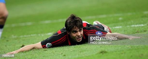 AC Milan's forward Kaka reacts after missing a goal against Empoli during their Italian serie A football match at San Siro stadium in Milan 07 April...