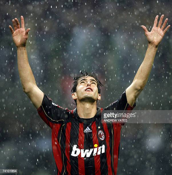 Milan's Kaka celebrates scoring against Manchester United during their European Champions League semi final second leg football match at The San...