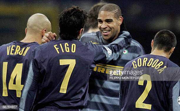 Inter Milan's Adriano jubilates with Luis Figo after scoaring a goal to FC Artmedia Bratislava during their Group H Champions league football match...