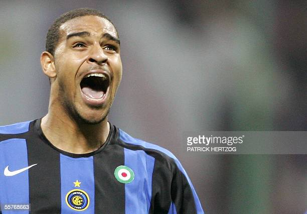 Inter Milan's Brazilian forward forward Adriano celebrates after the goal of his team against Fiorentina during their Italian serie A football match...