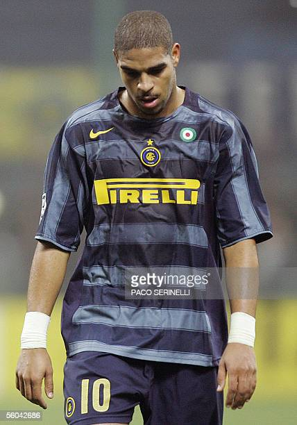 Inter Milan's forward Adriano leaves the pitch after half time during their first leg group H Champions League football match at San Siro stadium in...