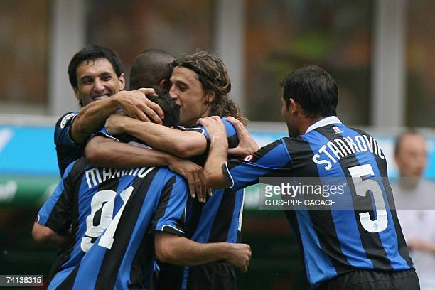 Inter Milan's Hernan Crespo celebrates with his team mates after scoring against Lazio during their Serie A match at San Siro Stadium in Milan 13 May...