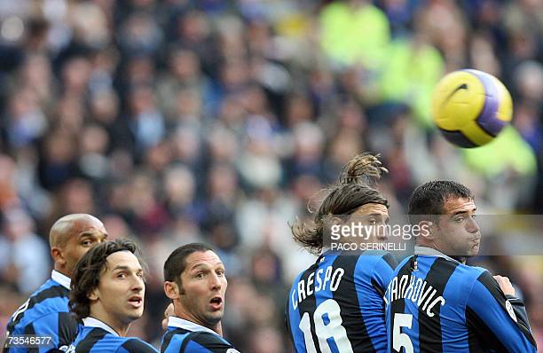 Inter Milan's players Olivier Dacourt of France Zlatan Ibrahimovic of Sweden Marco Materazzi Hernan Crespo of Argentina and Dejan Stankovic of...
