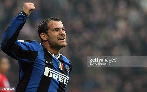 Inter Milan's Serbian midfielder Dejan Stankovic celebrates after scoring a goal against Fiorentina during their italian serie A football match at...