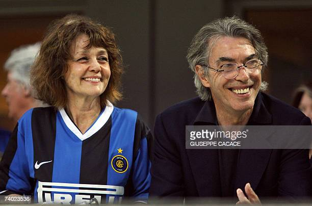 Inter's president Massimo Moratti and his wife Milly smile during the Serie A football match Inter Vs Empoli at San Siro Stadium in Milan 29 April...