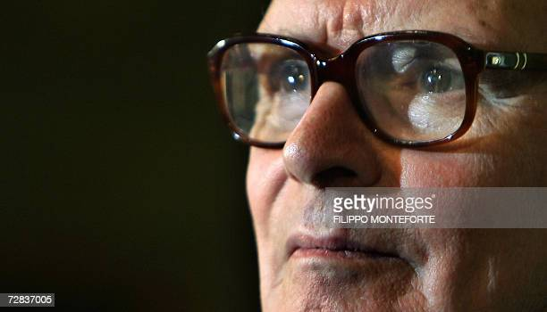 Italian composer Ennio Morricone gives a press conference 16 December 2006 in Milan before conducting Piazza Duomo's Christmas concert Ennio...