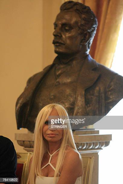 Italian designer Donatella Versace attends a press conference to present Thank You Gianni with Love at the La Scala opera house in Milan 14 July 2007...