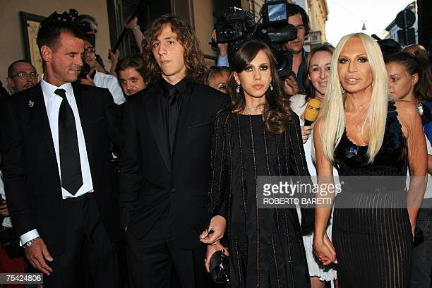 Italian designer Donatella Versace her daughter Allegra Versace her son Daniel and Paul Back arrive at Teatro alla Scala to attend the ballet 'Thank...