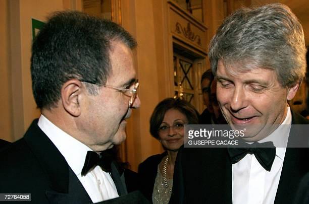Italian Prime Minister Romano Prodi talks to La Scala general and artistic director Stephane Lissner upon his arrival to La Scala opera house in...